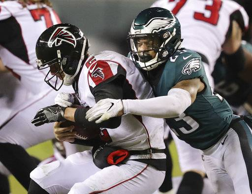 Philadelphia Eagles safety Rodney McLeod sacks Atlanta Falcons quarterback Matt Ryan during the second half of an NFL football NFC divisional playoff game Saturday, Jan. 13, 2018, in Philadelphia. (Curtis Compton/Atlanta Journal-Constitution via AP)