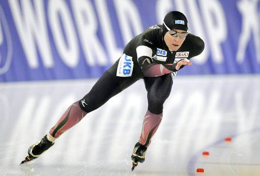 FILE - In this Jan. 29, 2017, file photo, Germany's Claudia Pechstein competes during the women's 3,000 meters of the Speed Skating World Cup in Berlin. The German will become the first woman to compete in seven Winter Olympics. She has a chance to become the oldest Winter Olympic medalist in an individual event and the first person to win the same individual Winter Olympic event four times (she won the 5,000 meters in 1994, 1998 and 2002).