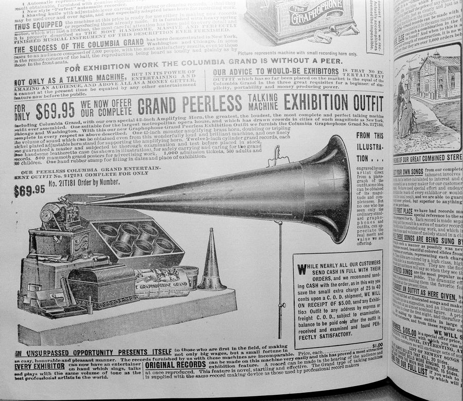 A Columbia Gramophone Grand, pictured in a Sears Roebuck catalog from 1902, is shown in this photo. The exhibit model with a 42-inch amplifying horn was designed for large audiences and could be had for $69.95.
