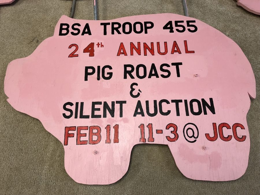 The iconic signs for Boy Scout Troop 455's 24th annual pig roast will be going up around Johnsburg. Get tickets for the all-you-can-eat luncheon.
