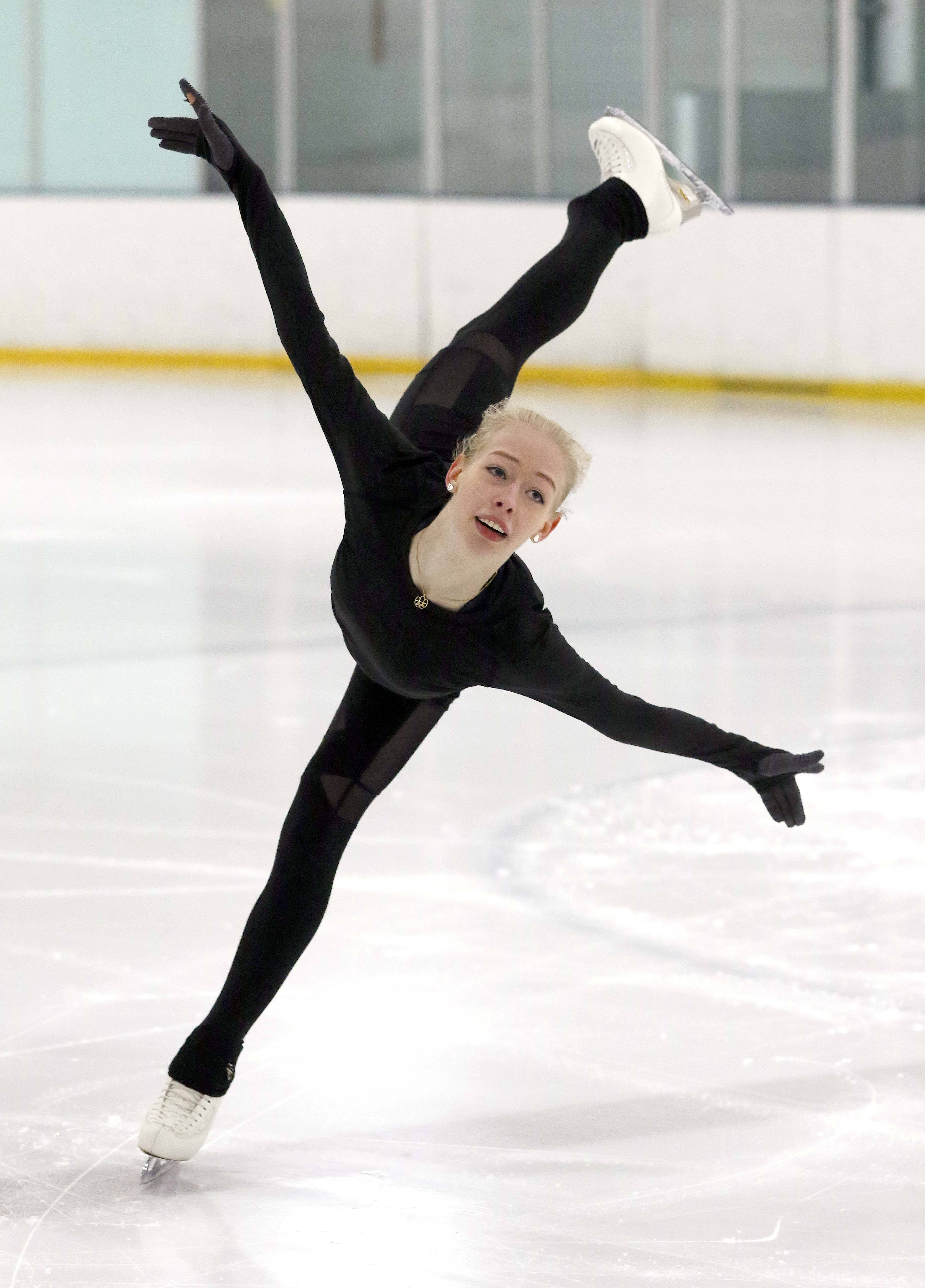 "Figure skater Bradie Tennell of Carpentersville is training for the 2018 Winter Olympics at her home rink, Twin Rinks Ice Pavilion in Buffalo Grove. ""I just like being back here, where it's low-key,"" she said."