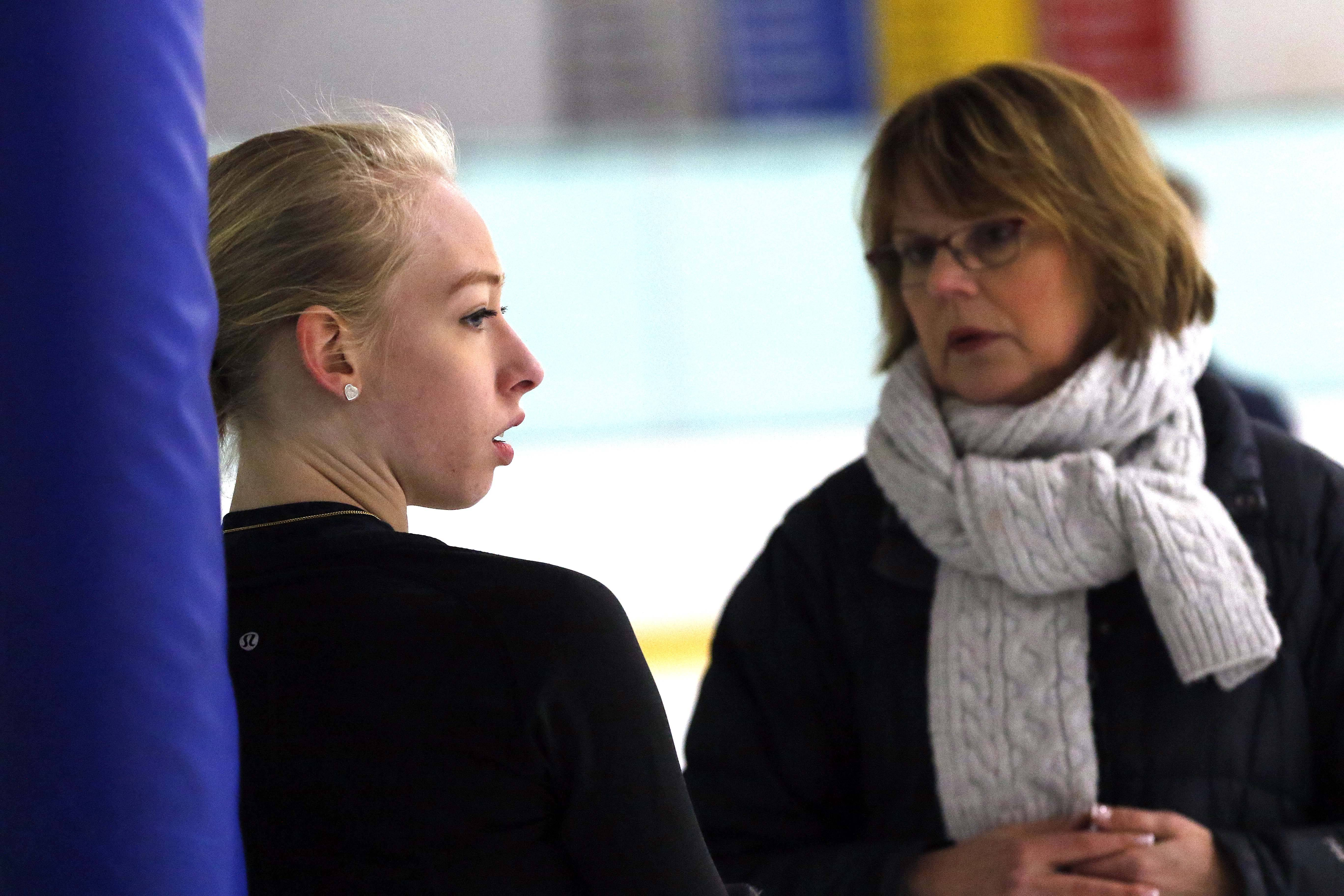 Bradie Tennell works Tuesday with coach Denise Myers at Twin Rinks Ice Pavilion in Buffalo Grove, as they prepare for next month's Winter Olympics in South Korea.