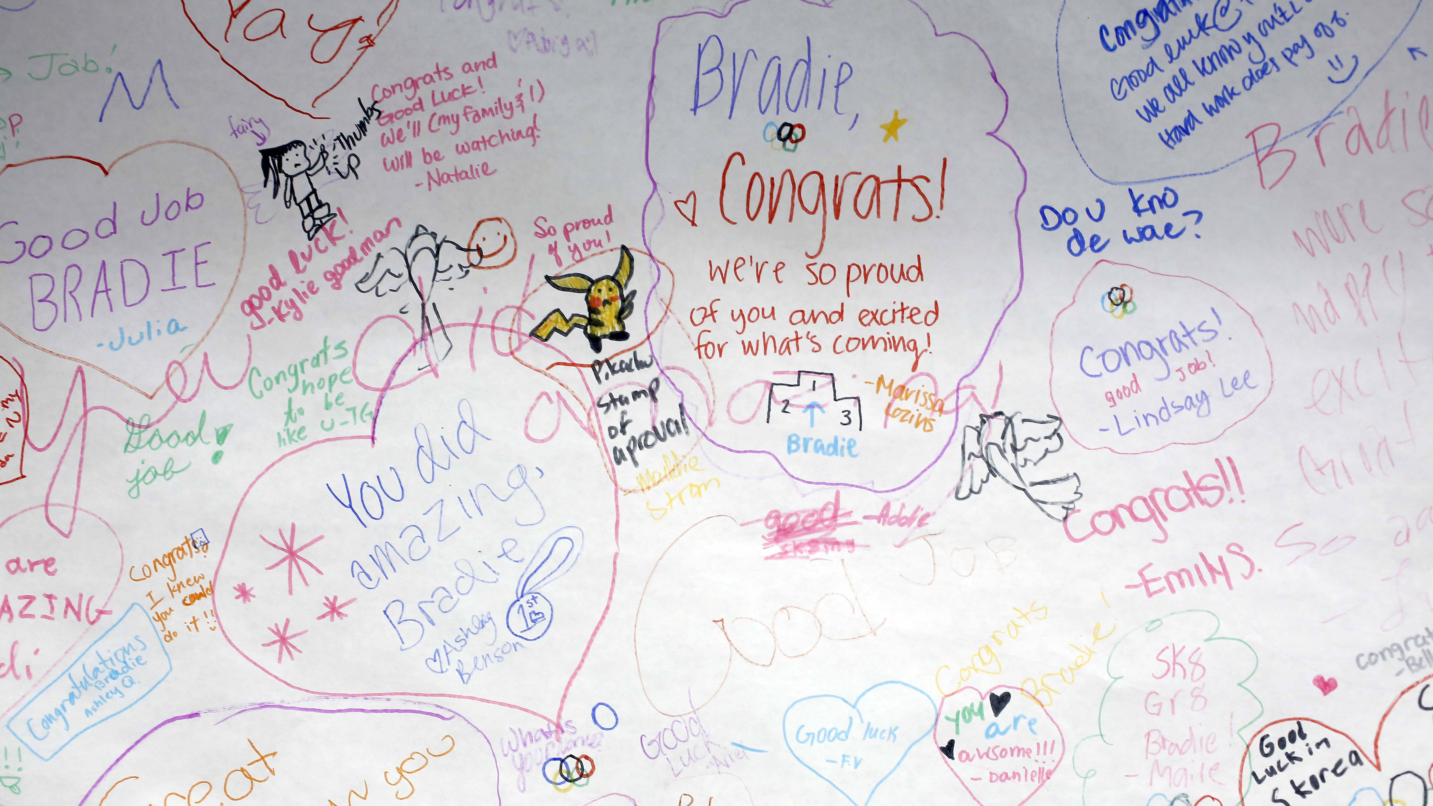 Dozens of young skaters at Twin Rinks Ice Pavilion in Buffalo Grove signed a poster congratulating Bradie Tennell for earning a chance to compete at the 2018 Winter Olympics. Before heading to the games in South Korea, the 19-year-old from Carpentersville is back training at her home base.