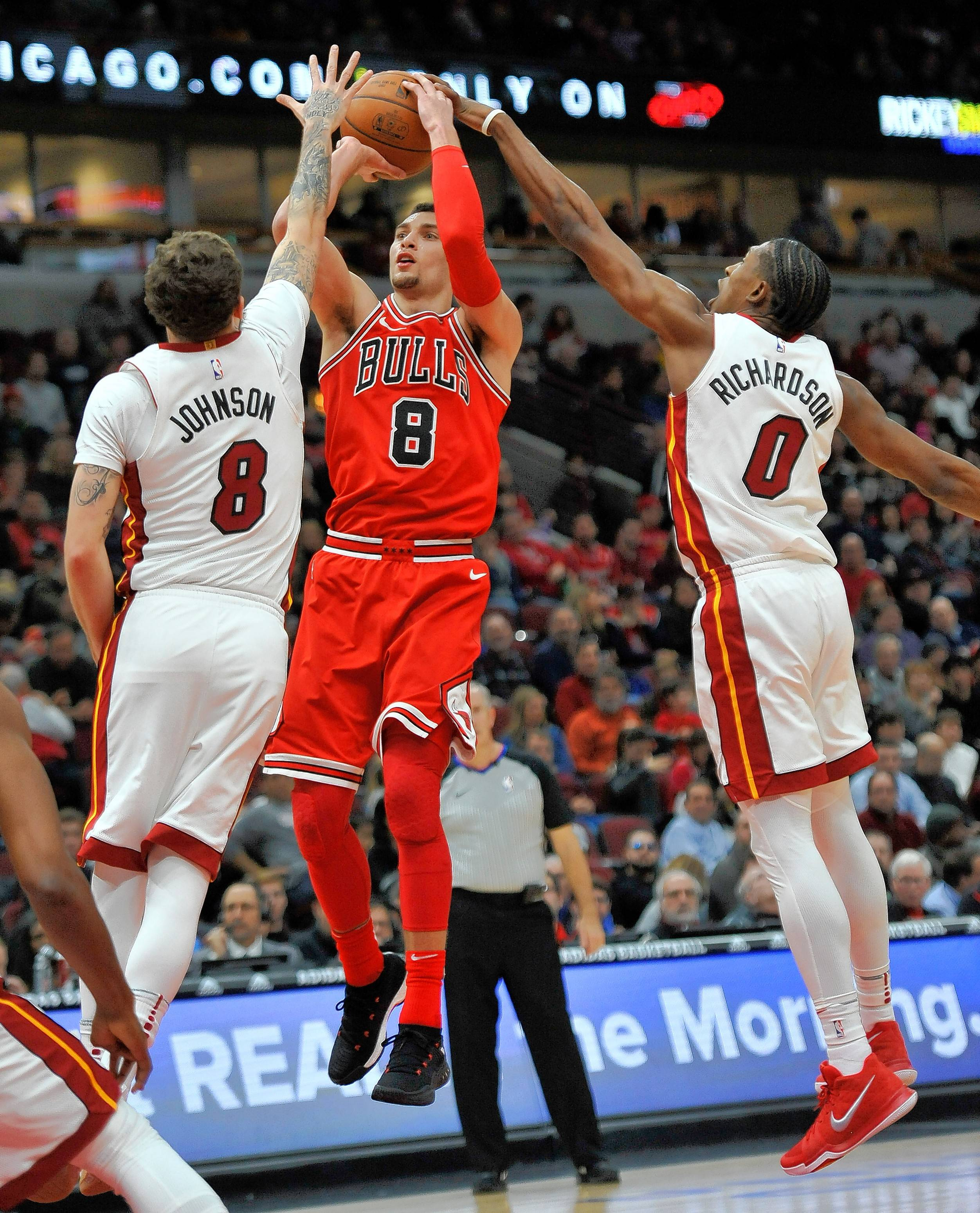 Since joining the Bulls lineup, Zach LaVine has scored 32 points in 39 minutes while shooting 57 percent from the field in two games of action.