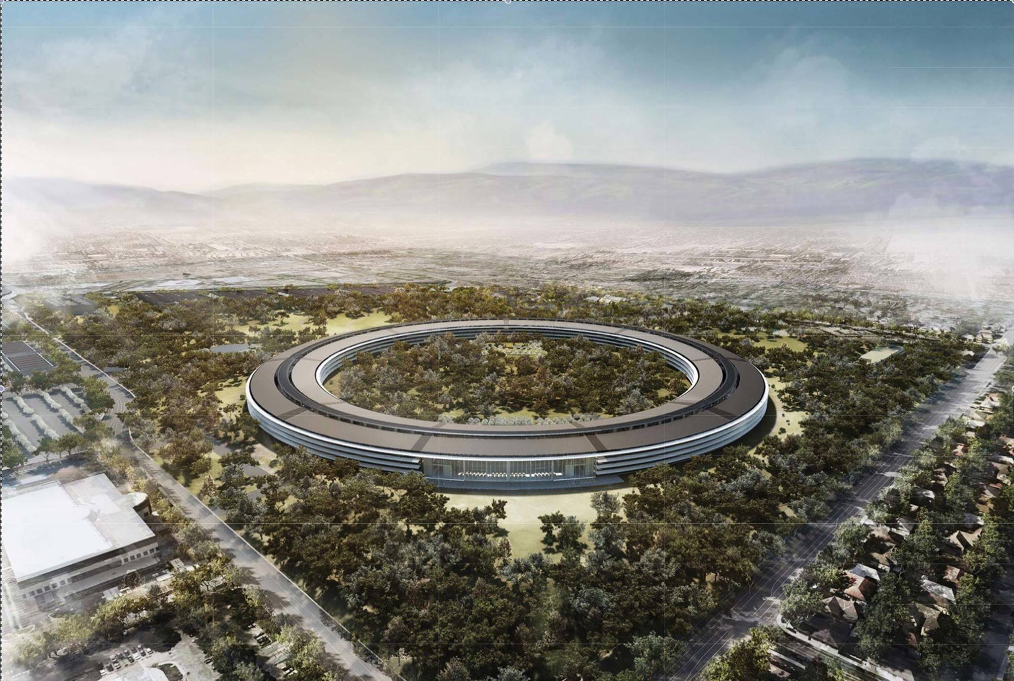 New apple office cupertino Spaceship An Aerial Rendering Of The Planned Apple Computer Headquarters Before It Was Built In Cupertino Daily Herald Suburbs Eye New Apple Campus Announced Wednesday