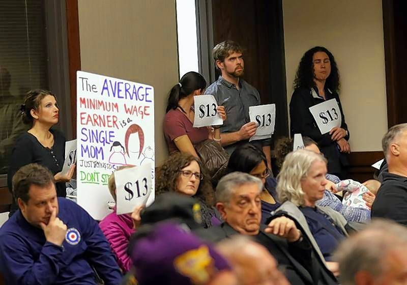 A story about minimum wage was the most read story on the Business Ledger's web site in 2017. Supporters of Cook County's minimum wage and sick leave ordinances met in Arlington Heights earlier this year.