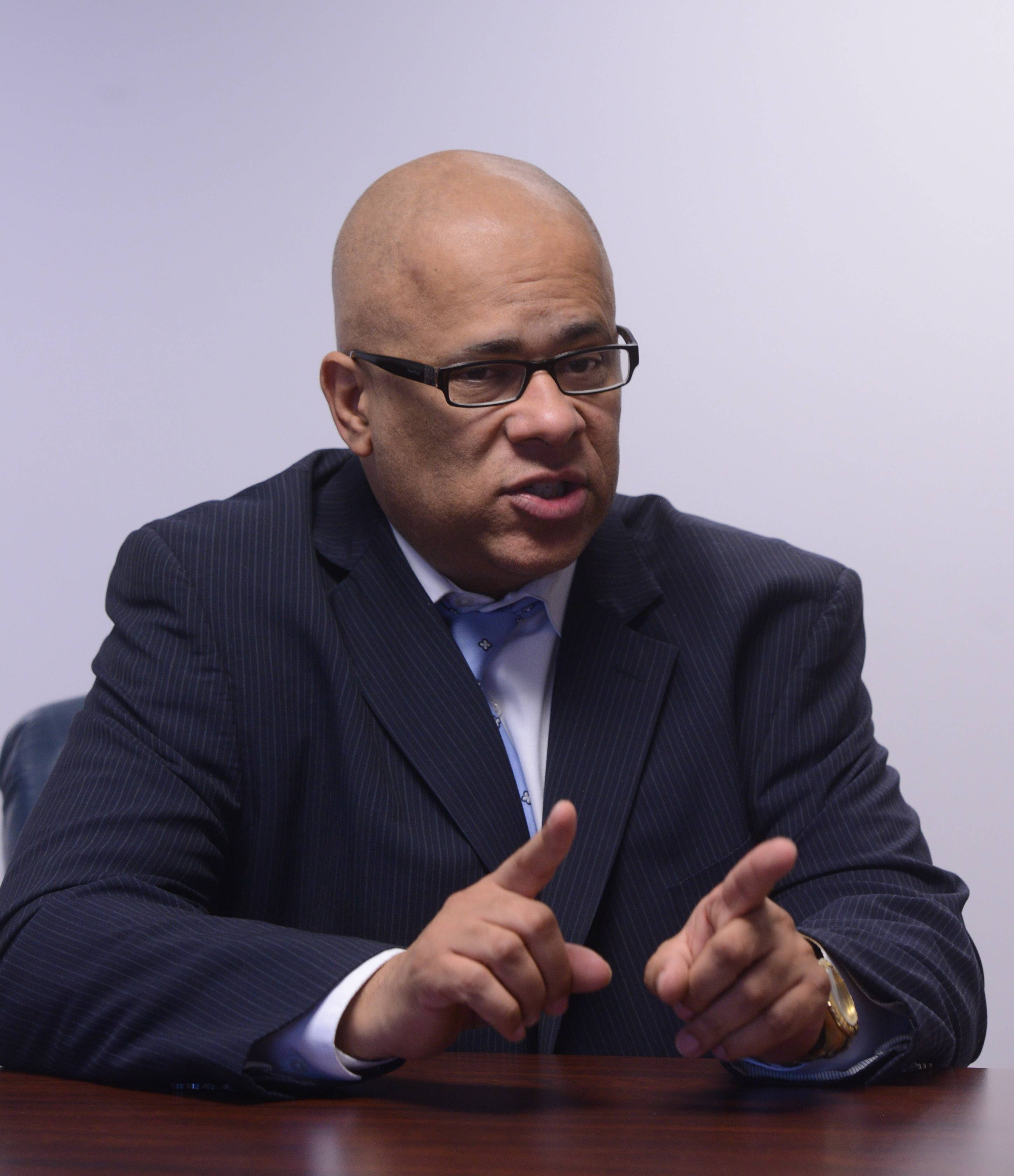 Democratic candidate for Governor Tio Hardiman meets with the Daily Herald editorial board.