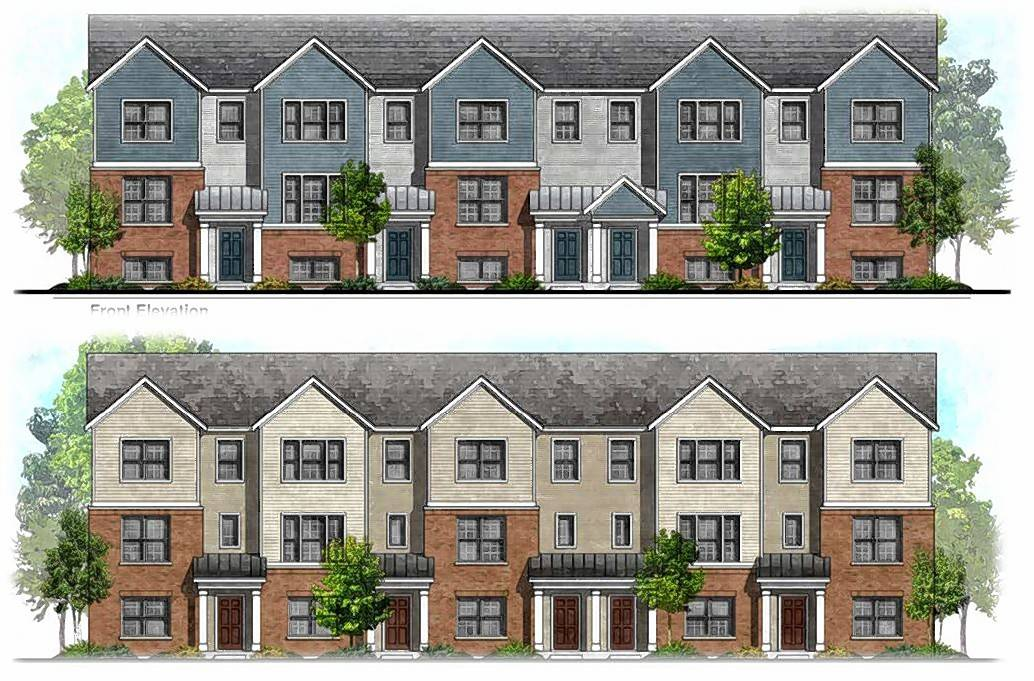 A rendering shows plans for 55 townhouses on an 11.5-acre site in the 900 block of West Dundee Road. The proposed development would also include 35,000 square feet of commercial space.