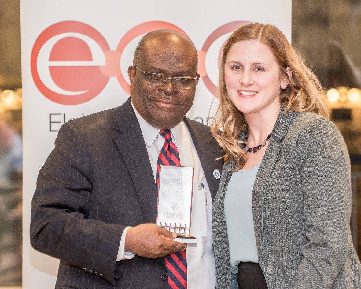 Jaci Kator will get the leadership award Thursday from the Elgin Area Chamber of Commerce, where she serves on the board. Here she is pictured in January 2017 giving the leadership award to David Sam, president of Elgin Community College.