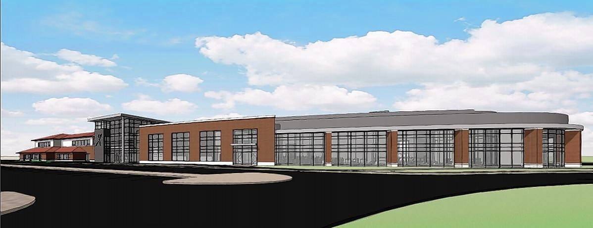 A rendering shows an outside view of the proposed addition of fitness center space at the Wheeling Park District Communtiy Recreation Center.