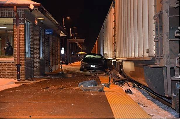 A man who drove onto the pedestrian platform at the Lisle train station narrowly escaped being hit by a freight train Wednesday. He was later charged with drunken driving.
