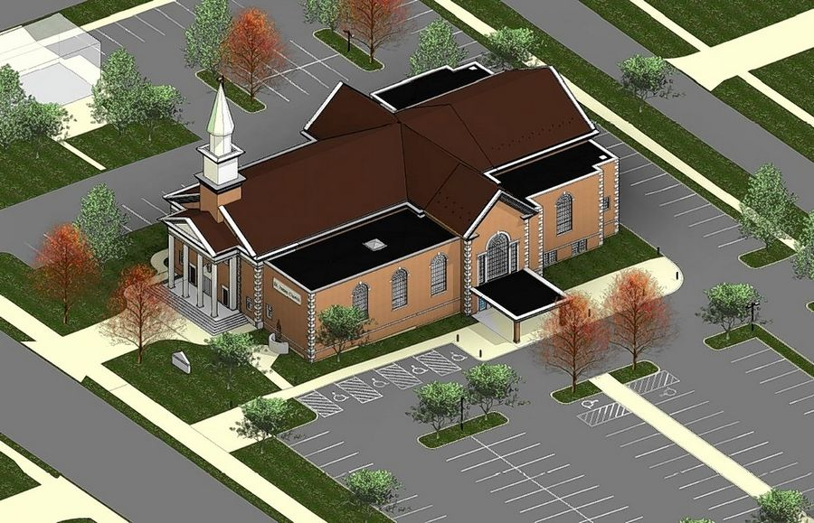 A sketch of St. James Parish's proposed addition shows a new main entrance on the south side of the building, where there would be additional on-site parking.