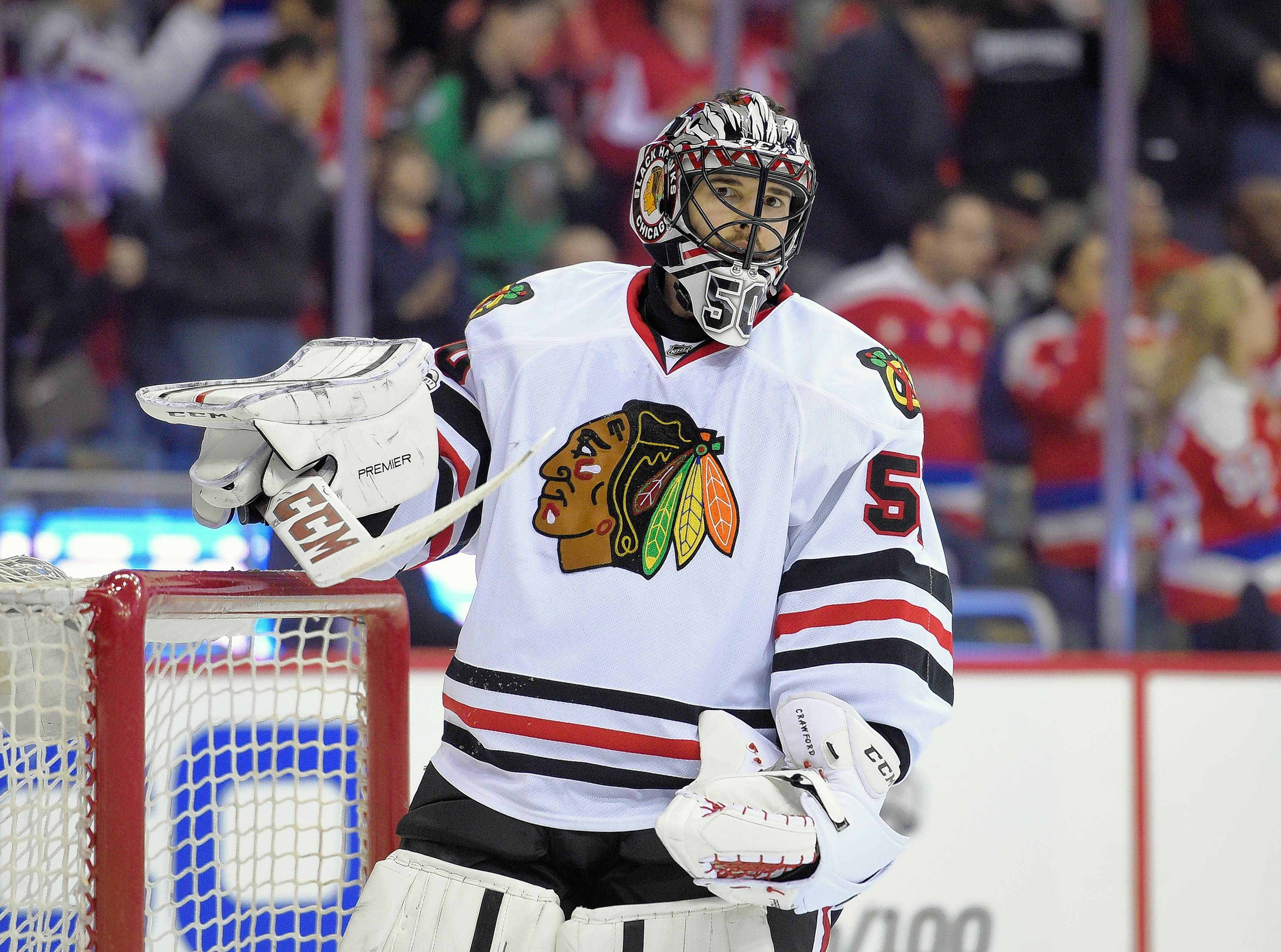 Blackhawks goalie Crawford has been on injured reserve since Dec. 27 with an upper-body injury. The Chicago Sun-Times, citing three sources, reported Tuesday that Crawford is suffering from vertigo and there is growing concern that he may not return.