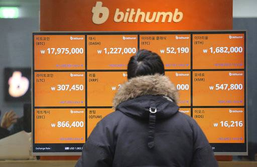 FILE - In this Tuesday, Jan. 16, 2018, file photo, a man watches a screen showing the prices of bitcoin at a virtual currency exchange office in Seoul, South Korea. Bitcoin is suffering another one of its trademark nosedives on Wednesday. The digital currency has fallen about 30 percent during the week as investors worry that regulators in South Korea will crack down on trading. (AP Photo/Ahn Young-joon, File)