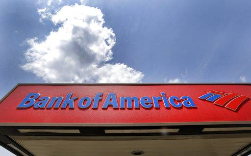 FILE - This Monday, July 18, 2016, file photo shows the top of a Bank of America ATM booth, in Woburn, Mass. Bank of America Corp. reports earnings, Wednesday, Jan. 17, 2018. (AP Photo/Elise Amendola, File)