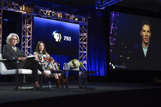 "Rebecca Eaton, left, Kelly Macdonald and Benedict Cumberbatch (via satellite) participate in the ""The Child in Time"" panel during the PBS Television Critics Association Winter Press Tour on Wednesday, Jan. 17, 2018, in Pasadena, Calif. (Photo by Richard Shotwell/Invision/AP)"