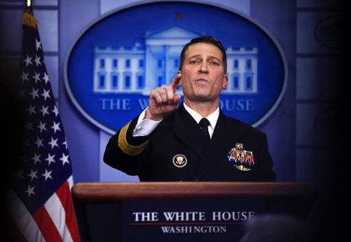 In this Jan. 16, 2018, photo, White House physician Dr. Ronny Jackson speaks to reporters during the daily press briefing in the Brady press briefing room at the White House, in Washington. Cognitive tests like the one President Donald Trump aced give doctors a snapshot of someone's memory and certain other neurologic functions. They're one piece of information to help determine if trouble's brewing, but by themselves they're not enough to diagnose cognitive impairment. (AP Photo/Manuel Balce Ceneta)