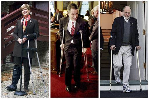 FILE – Republican Chris Christie left the New Jersey governor's office with his popularity in tatters, but at least he didn't break a leg. This combination of file photos shows New Jersey Gov. Christine Todd Whitman, left, leaning on crutches while answering questions about surgery that removed a plate from her right leg implanted after a skiing accident in Switzerland, during a Nov. 8, 1999, ceremony at the Old Barracks in Trenton, N.J.; New Jersey Gov. James E. McGreevey, center, who broke his left leg while vacationing in Cape May, N.J., using crutches as he leaves a lectern following a Feb. 6, 2002, news conference at the Statehouse in Trenton, N.J.; and New Jersey Gov. Jon S. Corzine, right, who was seriously injured in an automobile accident on April 12, 2007, using crutches to walk down the steps of Drumthwacket, the official governor's residence, on May 7, 2007, in Princeton, N.J. (AP Photos, File)