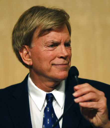 FILE - In this Nov. 2, 2016 file photo, Republican Louisiana Senate candidate, former Ku Klux Klan leader David Duke, waits for the start of a debate for Louisiana candidates for the U.S. Senate, at Dillard University in New Orleans. After initially fumbling the answer to a question during a radio interview about whether the former Ku Klux Klan leader is a racist, a spokesman for Republican Bruce Rauner clarified the governor's opinion of Duke.