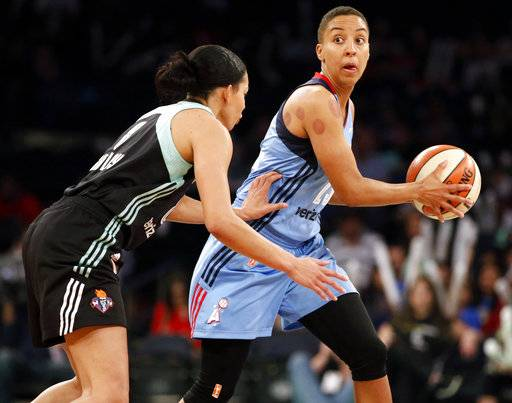 In this Wednesday, June 7, 2017 photo, Atlanta Dream guard Layshia Clarendon (23) looks to pass during an WNBA basketball game against the New York Liberty in New York. Former California women's basketball player and current WNBA guard Layshia Clarendon has filed a lawsuit against Cal claiming she was sexually assaulted by a longtime member of the athletic department. The school acknowledged the lawsuit Wednesday night, Jan. 17, 2018 and said the staff member, Mohamed Muqtar, had recently been placed on paid leave. (AP Photo/Kathy Willens, File)