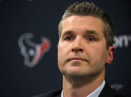 Houston Texans general manager Brian Gaine answers questions during his introductory news conference at NRG Stadium on Wednesday, Jan. 17, 2018, in Houston. Gaine is the Texans third general manger in team history. (Brett Coomer/Houston Chronicle via AP)