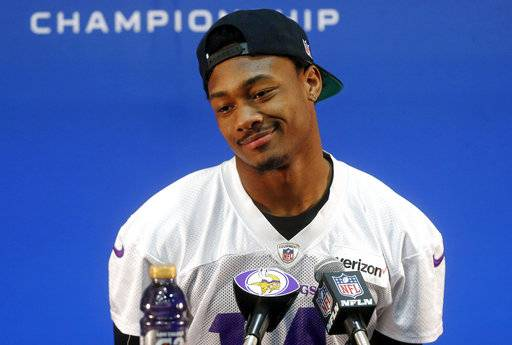 CORRECTS SPELLING OF FIRST NAME TO STEFON, NOT STEFAN - Minnesota Vikings wide receiver Stefon Diggs takes a question from the media during an NFL football news conference Wednesday, Jan. 17, 2018 in Eden Prairie, Minn. The Vikings face the Philadelphia Eagles in the NFC championship on Sunday in Philadelphia. (AP Photo/Jim Mone)