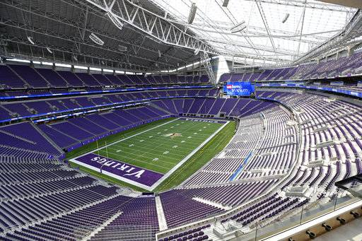 FILE - This July 19, 2016, file photo, shows US Bank stadium in Minneapolis, where the Super Bowl will take place Feb. 4. (AP Photo/Jim Mone, File)