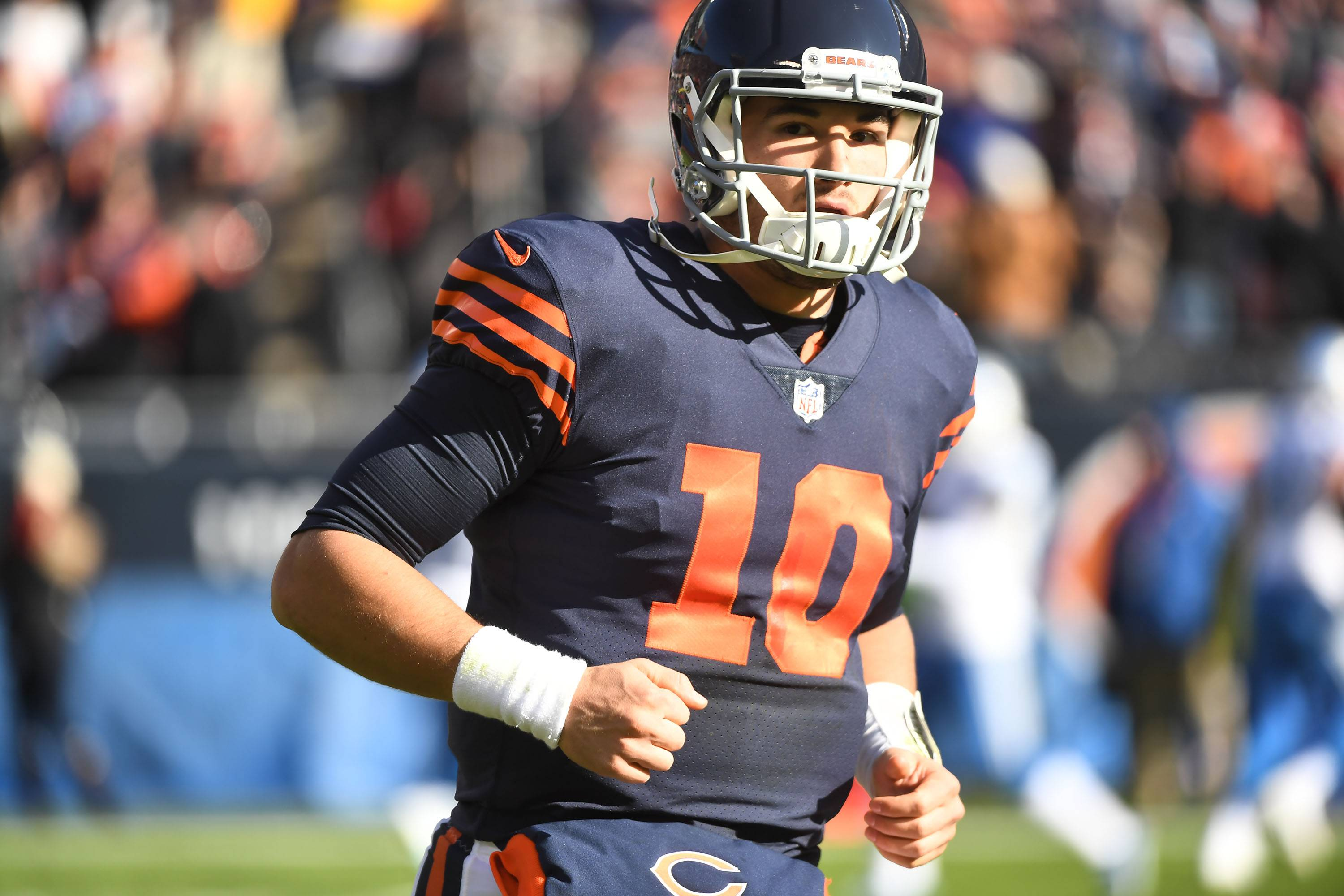Chicago Bears quarterback Mitchell Trubisky comes off the field Sunday against the Detroit Lions at Soldier Field in Chicago.