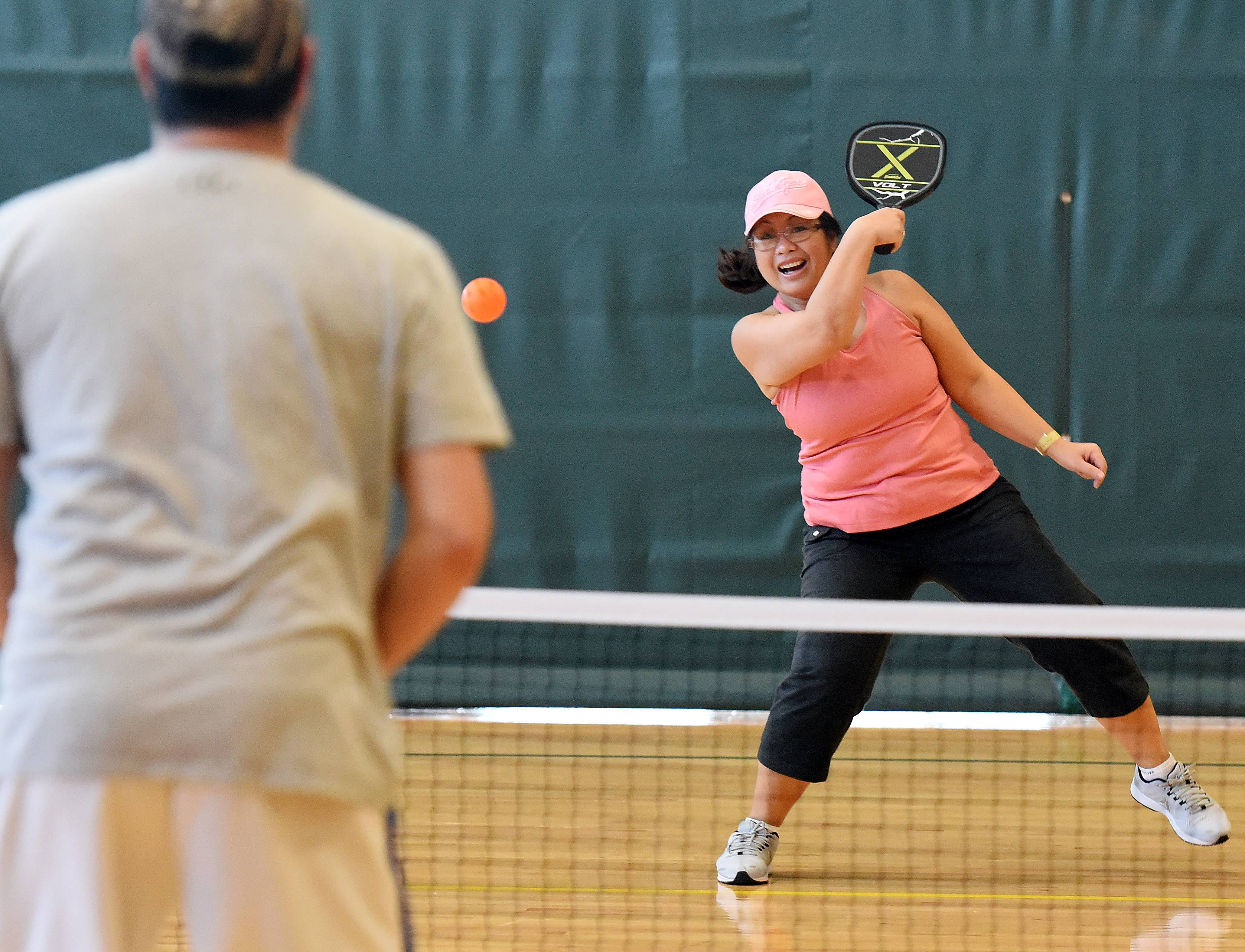 Douangchay Hedstrom of Elgin has been encouraging Lao seniors to check out pickleball at the Centre of Elgin.