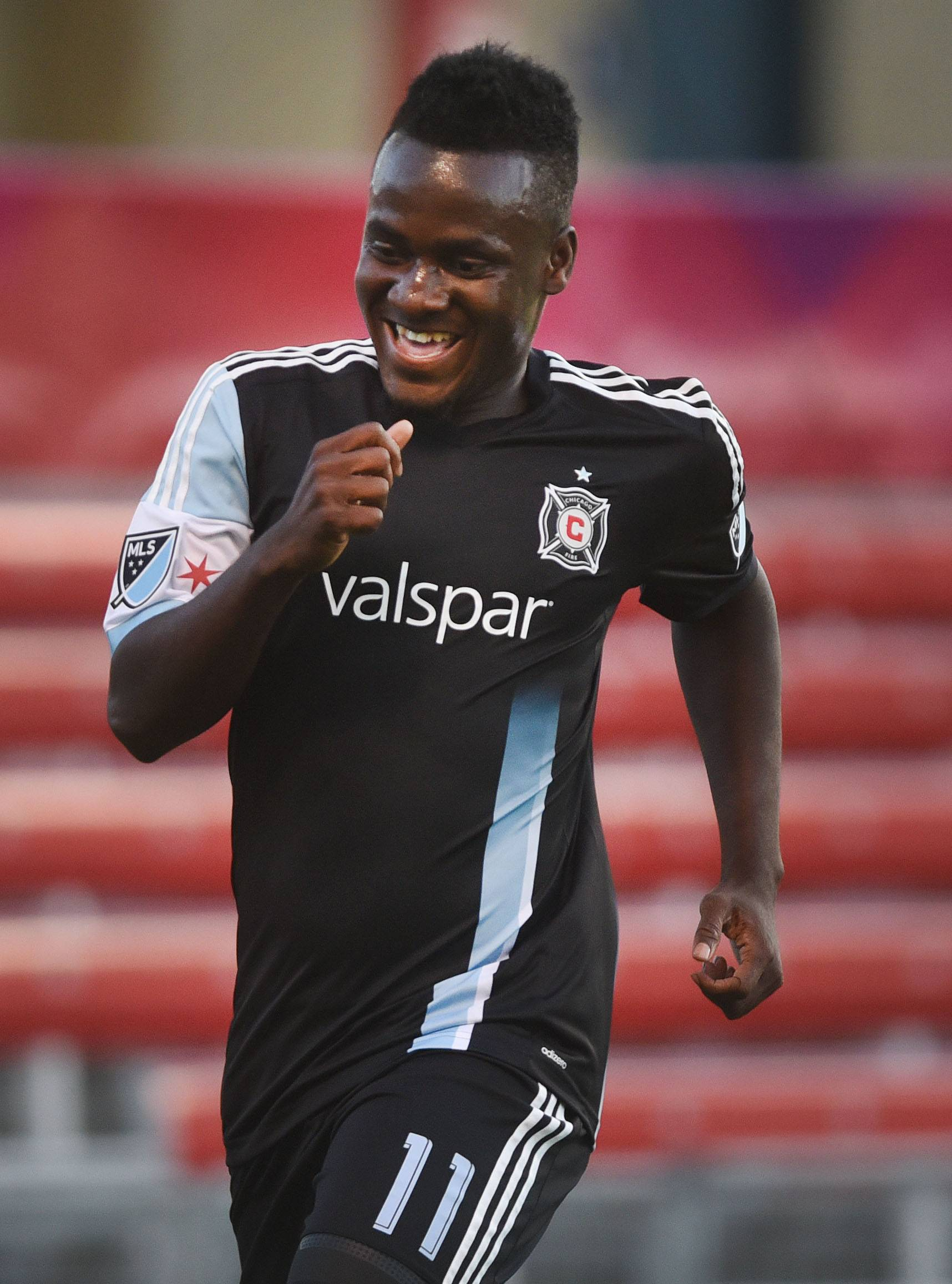 Forward David Accam (11) was sent by the Chicago Fire to Philadelphia in exchange for allocation money.