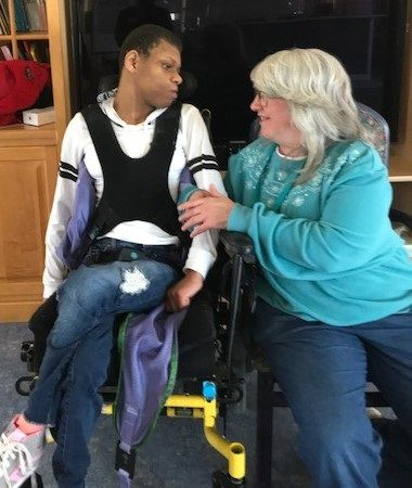 "Annette Parmantie has developed a strong bond with Britany, a resident of the Marklund Wasmond Center. ""You can see the love between the two of them,"" said Shelley Lewis, administrator. ""Britany's face lights up when Annette enters the room. They're BFFs."""