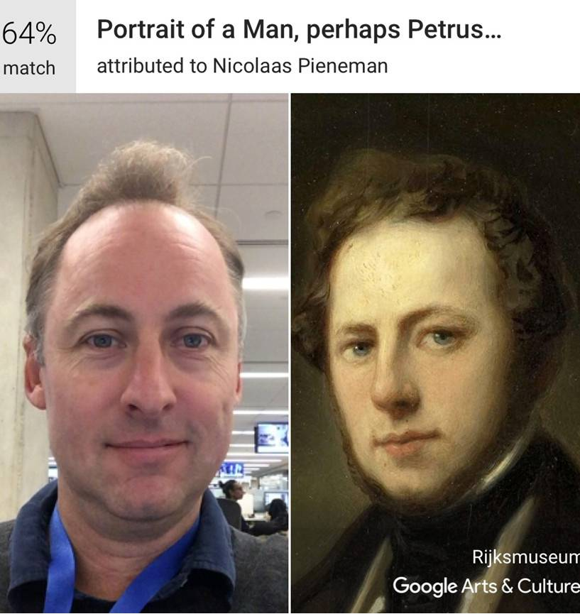 Using Google's Arts & Culture app, art critic Sebastian Smee gets a 64 percent match with a portrait attributed to Nicolaas Pieneman in Amsterdam's Rijksmuseum.