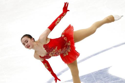 Russia's Alina Zagitova performs in the ladies free skating event at the European figure skating championships in Moscow, Russia, Saturday, Jan. 20, 2018.