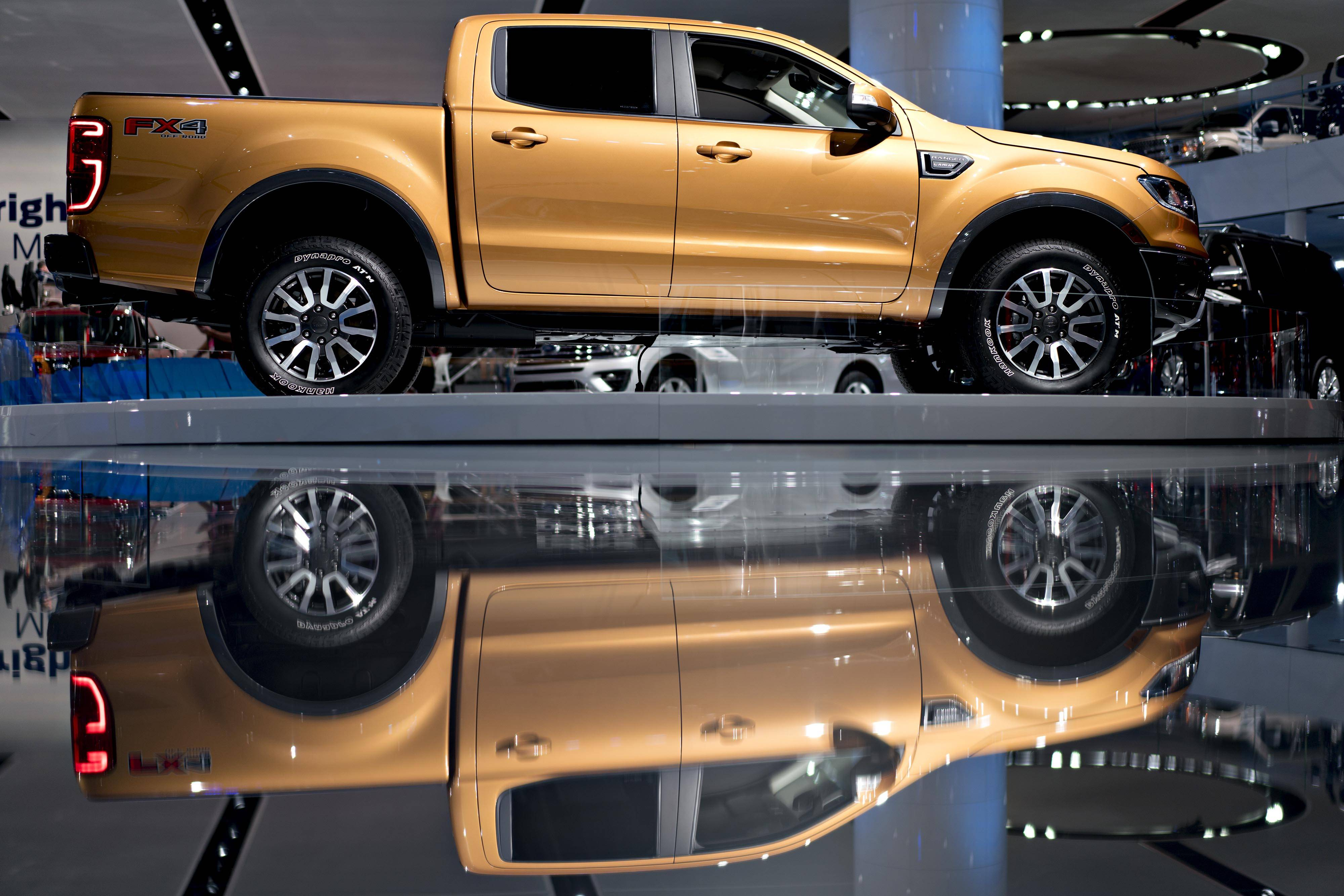 The 2019 Ford Motor Co. Ranger mid-size pickup truck is displayed during the 2018 North American International Auto Show in Detroit on Jan. 16, 2018. General Motors, Ford and Fiat Chrysler all stormed into show with overhauled pickups.