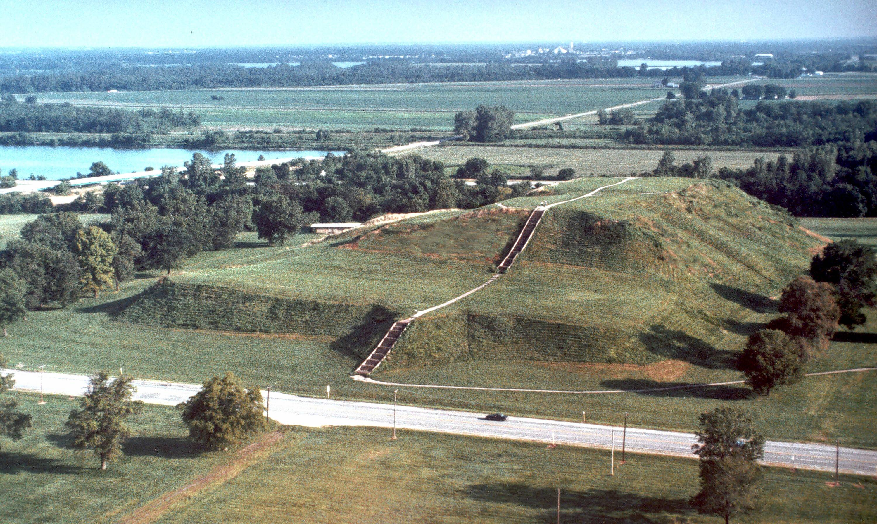 This is an aerial view of the 100-foot-high Monks Mound at Cahokia Mounds State Historic Site.