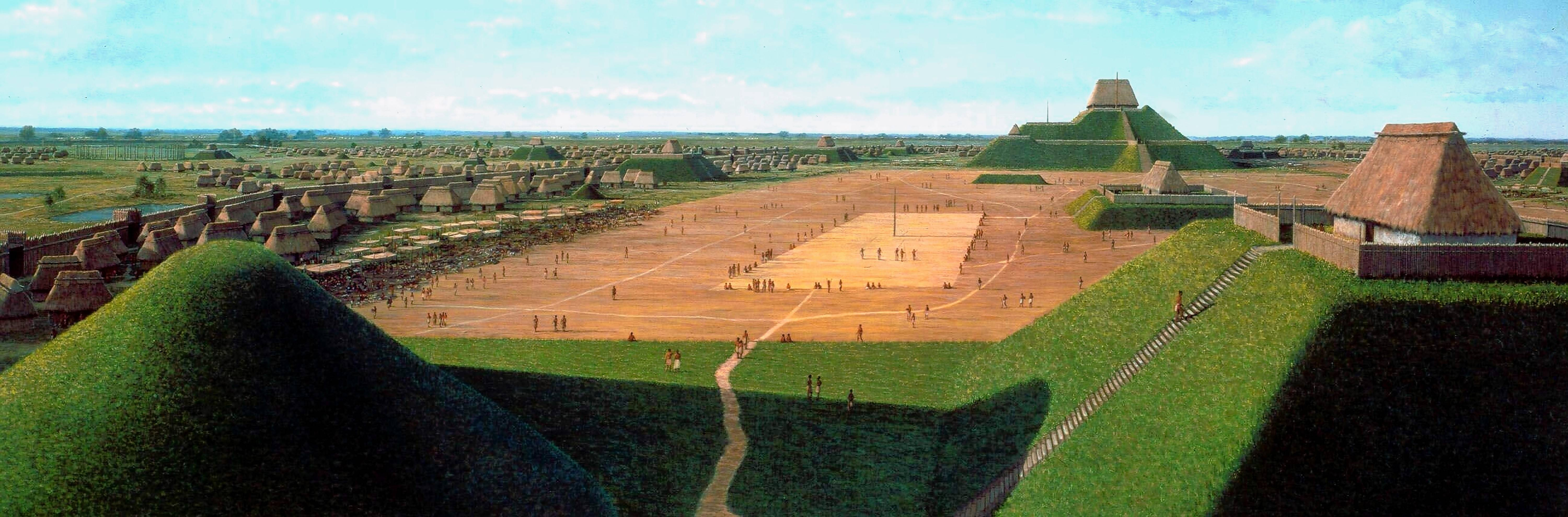 This is an artist's depiction of the central plaza in a city of 20,000 or more people that flourished 1,000 years ago at what is now the Cahokia Mounds State Historic Site.