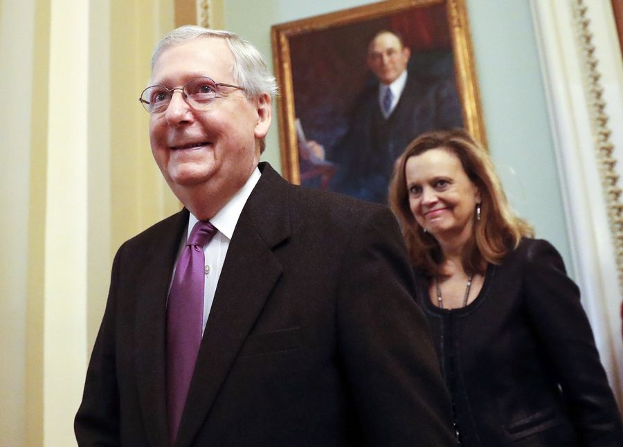 Senate Majority Leader Mitch McConnell of Ky., walks back to his office on Capitol Hill in Washington, Monday, Jan. 22, 2018. Senate leaders have reached an agreement to advance a bill ending government shutdown.