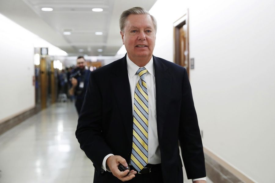 Sen. Lindsey Graham, R-S.C., leaves after meeting with a bipartisan group of senators, Monday Jan. 22, 2018, on Day Three of the government shutdown on Capitol Hill in Washington.