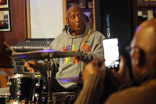 Bill Cosby plays the drums at the LaRose Jazz Club in Philadelphia on Monday, Jan. 22, 2018. It was his first public performance since his last tour ended amid protests in May 2015. Cosby has denied allegations from about 60 women that he drugged and molested them over five decades. He faces an April retrial in the only case to lead to criminal charges.