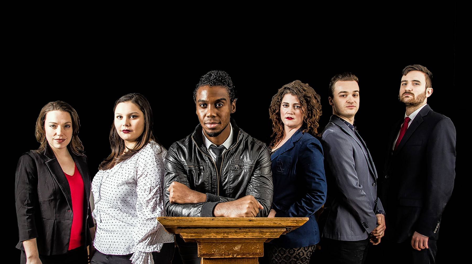 "Flying Elephant Productions' ""We the People: The Anti-Trump Musical"" stars Carmen Fisher Risi, left, Alyssa Soto, Dwayne Everett, Elizabeth Rentfro, Bradley Halverson and Timothy Swaim."