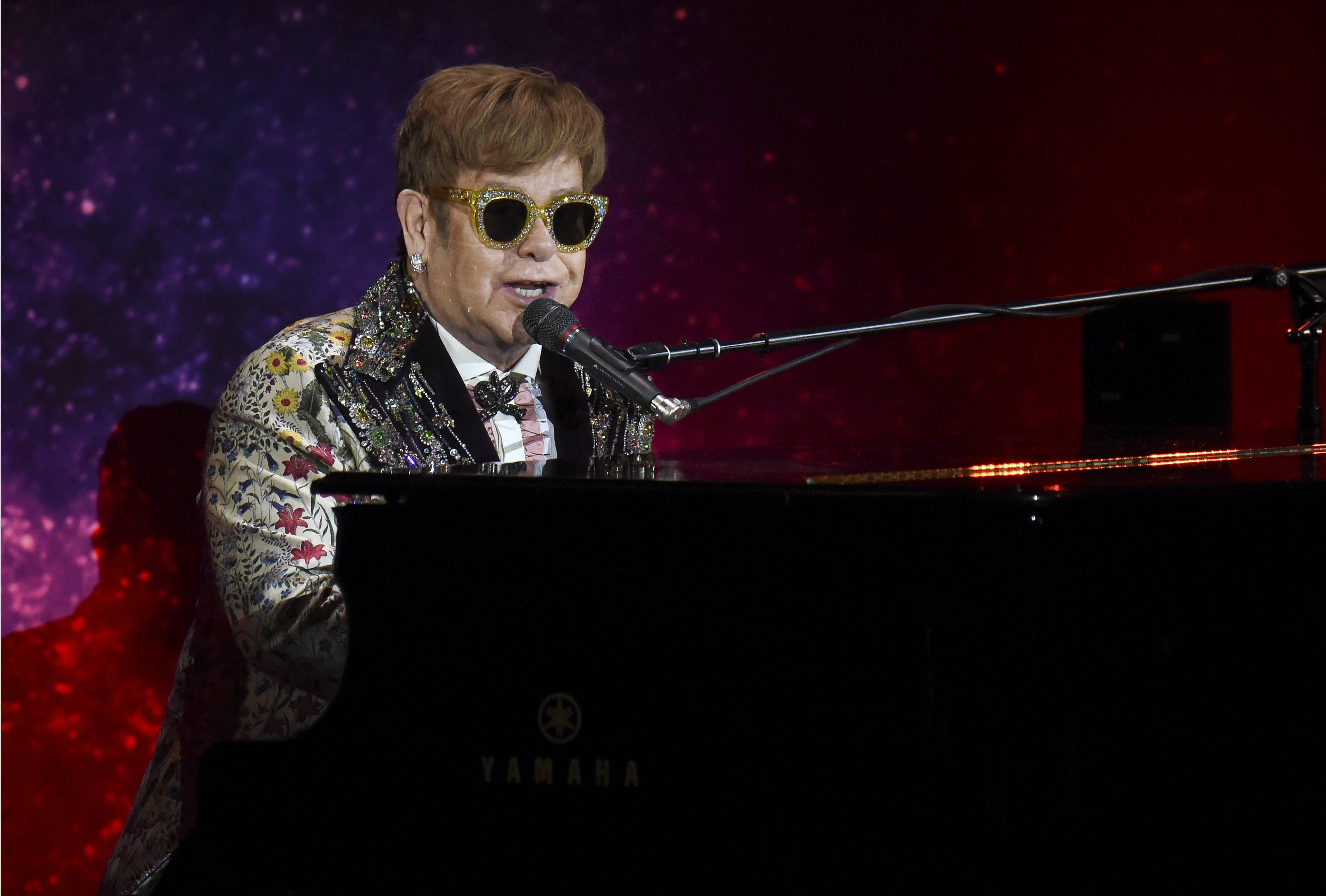 Singer Elton John performs before announcing final world tour at Gotham Hall on Wednesday, Jan. 24, 2018, in New York.