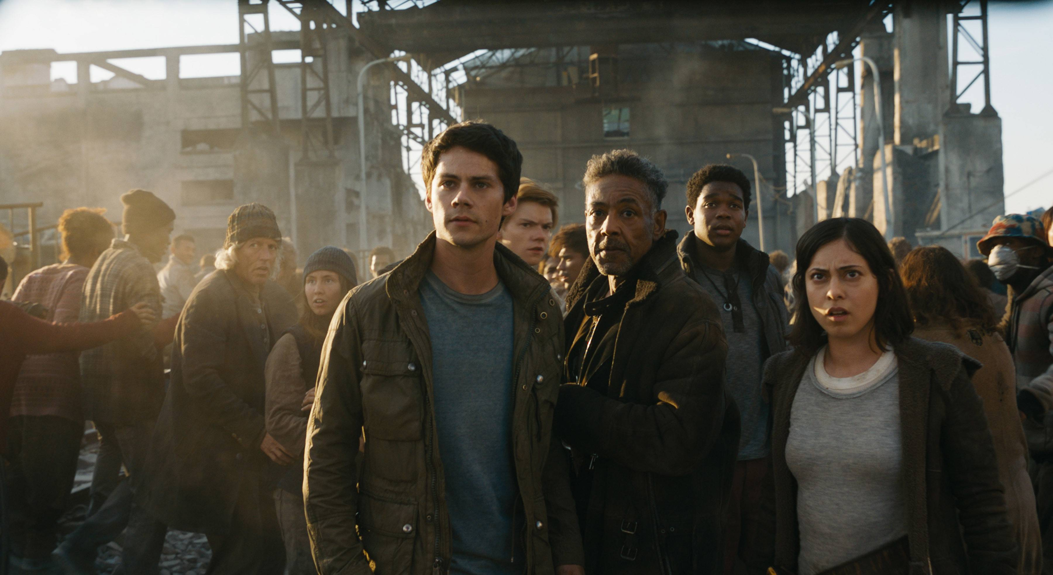 "Thomas (Dylan O'Brien), Jorge (Giancarlo Esposito) and Brenda (Rosa Salazar) navigate new challenges to save themselves and their friends in ""Maze Runner: The Death Cure."""