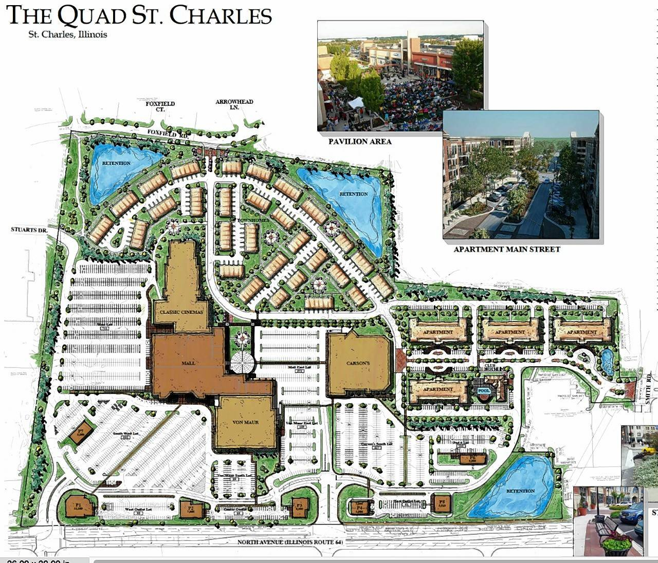 The proposed site plan for the new Charlestowne Mall/The Quad shows townhouses to the north and new apartments on the east end with a much smaller mall building remaining.