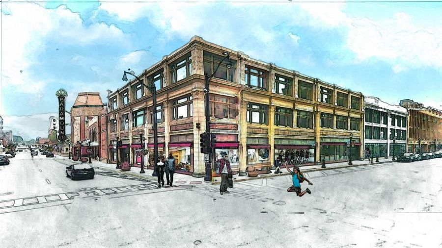 A three-story building immediately west of the Paramount Theatre in downtown Aurora will be renovated into the John C. Dunham Aurora Arts Center to include the Paramount School of Performing Arts, rehearsal spaces, apartments for artists and a restaurant.