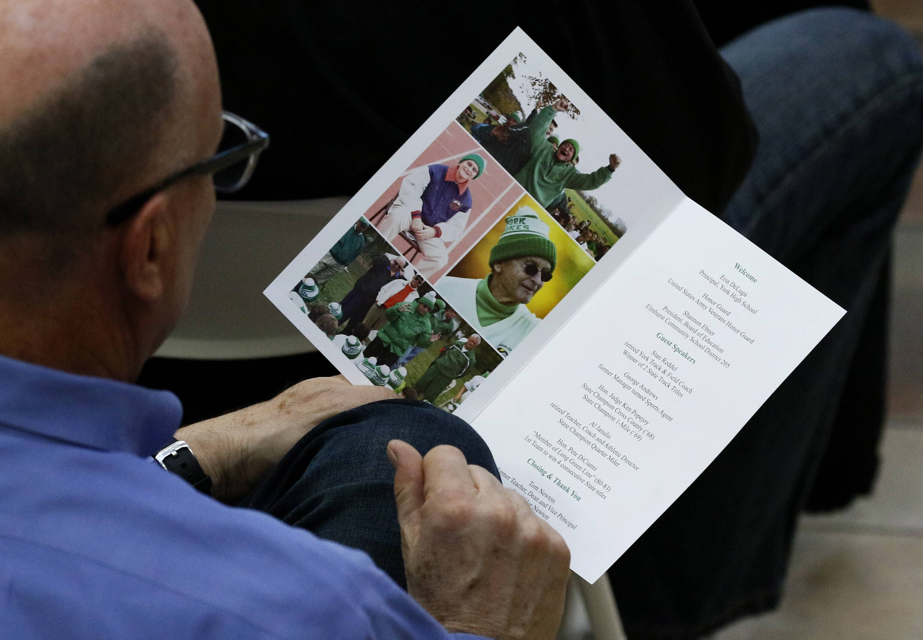 Hundreds of former athletes and friends returned to York High School to celebrate the life of cross-country coach Joe Newton, who inspired students during his 61 years of teaching and coaching.