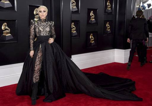 Lady Gaga arrives at the 60th annual Grammy Awards at Madison Square Garden on Sunday, Jan. 28.