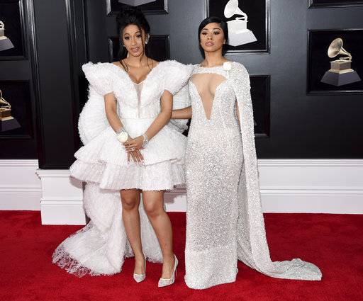 Cardi B, left, and Hennessy Carolina arrive at the 60th annual Grammy Awards at Madison Square Garden on Sunday, Jan. 28, 2018, in New York. (Photo by Evan Agostini/Invision/AP)