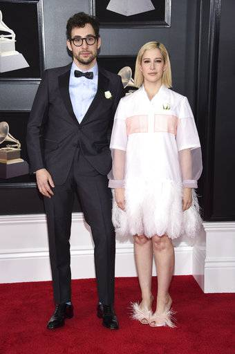 Jack Antonoff, left, and Rachel Antonoff arrive at the 60th annual Grammy Awards at Madison Square Garden on Sunday, Jan. 28, 2018, in New York. (Photo by Evan Agostini/Invision/AP)