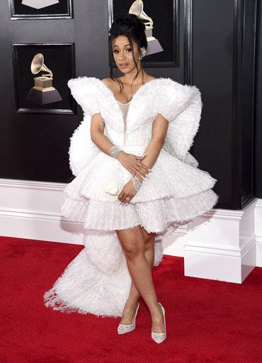 Cardi B arrives at the 60th annual Grammy Awards at Madison Square Garden on Sunday, Jan. 28, 2018, in New York. (Photo by Evan Agostini/Invision/AP)