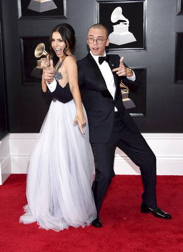 Jessica Andrea, left, and Logic arrive at the 60th annual Grammy Awards at Madison Square Garden on Sunday, Jan. 28, 2018, in New York. (Photo by Evan Agostini/Invision/AP)